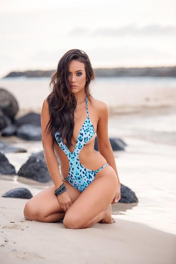 15%OFFSALE *** MissManeater WILD deep V front strap side one piece designer swimsuit *** BRAZILIAN cut!