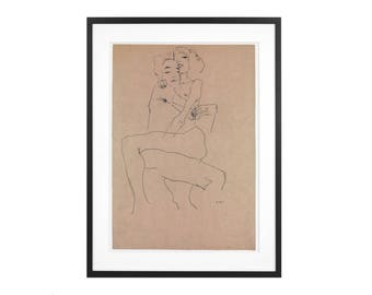 Egon Schiele - Couple Embracing 1911 Expressionist - Graphite on Paper High Quality Print