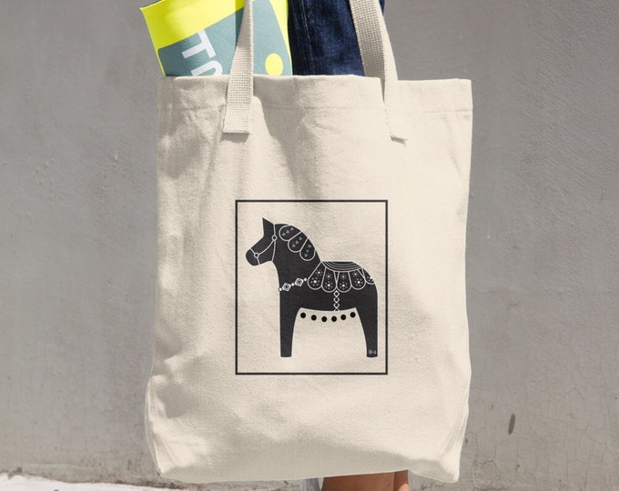 Dala Horse Cotton Tote Bag, Reusable Tote, Reusable Bag, Cloth Bag, Dala Horse, Swedish Horse