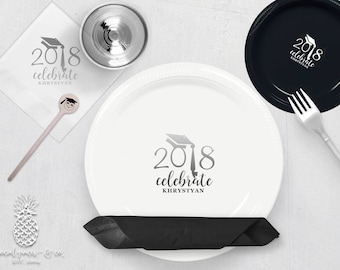 Personalized Graduation Plates, Napkins, Cups or Stir Sticks