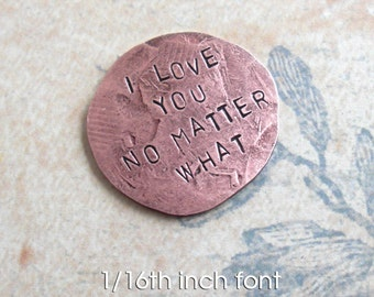 Penny Charm for your Pocket .. Includes 6 words .. like a worry stone .. hammered coin penny with custom phrase, date or name stamped on it