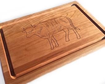 Custom Cutting Boards, Beef Guide Custom Engraved Chopping Block, Wooden Cutting Boards