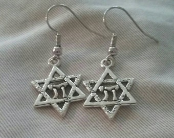 Star of David and Chai Symbol Earrings, Nickel and Lead Free Earrings, Religious Symbol Jewelry