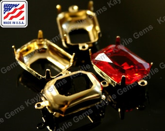 18x13 Octagon Prong Setting Pure 24K Gold Plated Open Back 1 Ring / 2 Ring Made In the USA -4pcs