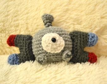 Crochet Plush Magnemite Pokemon Amigurumi, Stuffed Doll