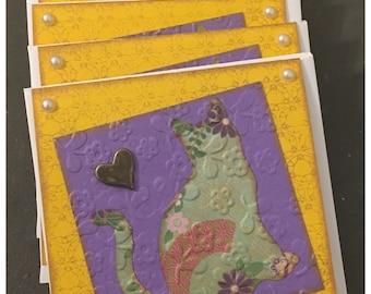 Handmade Kitty Cat Heart Boho Mixed Media Small Notecards Gilded Pearls CharmGift Mom Teacher Set of 6 with Envelopes