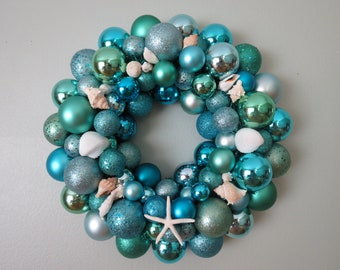 SUMMER BEACH Wreath -AQUA Seafoam  Shatterproof Ornament Wreath with Starfish Shells