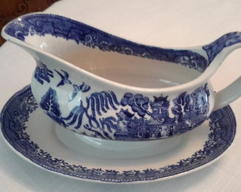 Vintage Staffordshire Blue Willow Gravy Boat with attached underplate
