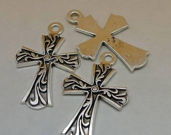 4 CROSS Charms Antique Silver Beautiful Detailed Design Vintage Style Cross Charms Charm Bracelet Bangle Bracelet Pendants #893
