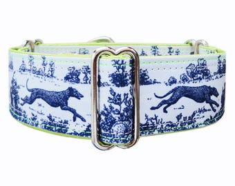 Jane Walker Sighthound Toile satin lined martingale dog collar. Greyhound collar, whippet collar, galgo collar.  Custom made to order.