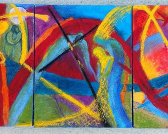 Believe. Original Contemporary Art Mixed Media Painting Triptych