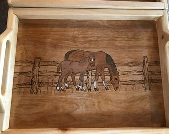 Horse with Colt - Serving Tray
