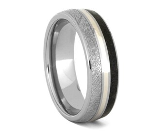 Personalized Dinosaur Bone Wedding Band, Meteorite Ring With 14k White Gold, Titanium Statement Ring