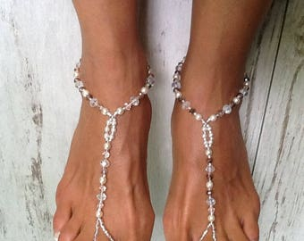 Barefoot Sandals, Rose Jewel Barefoot Sandal, Sandals for a Bridesmaids  Gift, Bridal Sandals, Beach Wedding Sandald