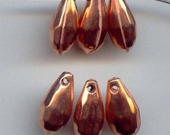 18 Vintage Copper Coated Acrylic 16mm. Faceted Drop Deco Bead Charms 2016