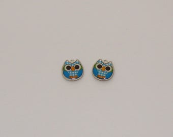 2 pendants owls in blue enamel tiles-Ref: EA 704