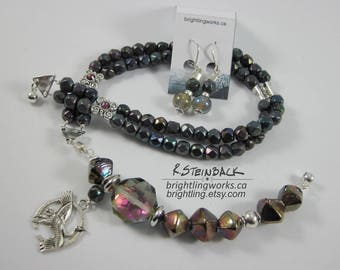 Darkly Gleaming; Necklace/Earring Jewellery Set With Magnet Clasp. Crystals, Glass and Silver with Shimmering Iridescent Purple Black & Gold
