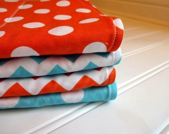 Boutique Burp Cloths - Riley Blake Aqua and Red Chevron and Dots