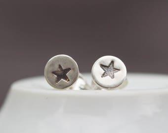 Sterling silver Star stud earrings - minimal, simple every day earrings