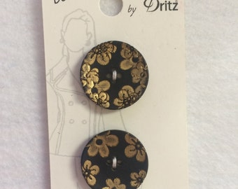 """Belle Buttons by Dritz Black with Gold Flower Buttons Size 7/8"""" (23mm)"""