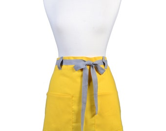 Womens Linen Retro Half Apron in Sunshine Yellow Straight Style Skirt with Gray Belt Loops and Ties and Two Pockets