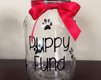 Puppy (or Kitty) Mason Quart Size Jar with Slot in Cap - choose your colors