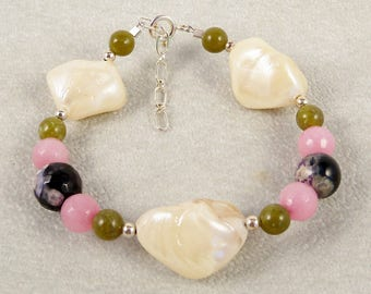 Green and Pink Jade Bracelet with Mother of Pearl Nuggets and Sterling Silver, Multi Color Bead Adjustable Bracelet