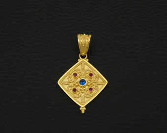 Sapphire Ruby Cz Pendant Byzantine Style 925 Sterling Silver 22K Gold Plated Greek Handmade Art Luxury