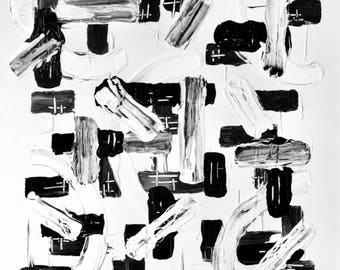 Large Black and White Abstract Painting, Black and White Wall Art, Original Black and White Painting, Extra Large Modern Wall Art 36x36x1.5