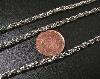 5 feet 3mm platina look rope chain lead nickel free-5559