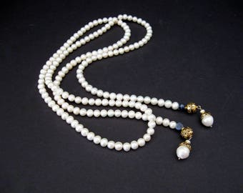 "Flapper 1920 Style Pearl Necklace 44"" Opera Length Continuous Pearl Necklace / Vintage Handmade Necklace, Gift for Her"