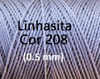 Linhasita Light Grey/ Silver (0.5 mm) Cor 208, Waxed Polyester Macrame Cord/ Beading/ Spool