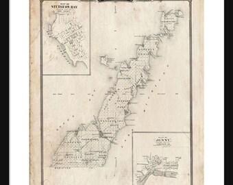 Door County Wisconsin Map Print Poster Sturgeon Bay - Grunge
