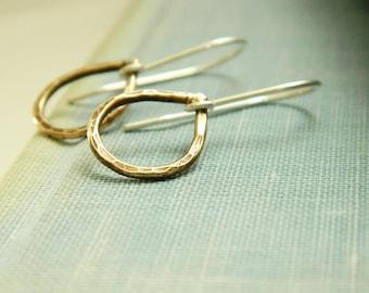 Brass teardrop earrings - brass earrings - minimalist earrings - mixed metal jewelry - boho earrings - gift under 25