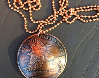 Bald Eagle domed pendant with chain
