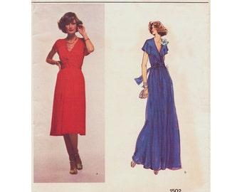 1970s Vintage VOGUE French Boutique No. 1502 - Christian Aujard Womens Boho Mock Wrap Evening Dress  / Size 16