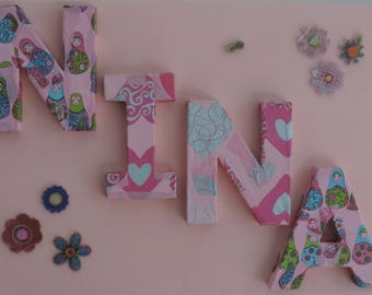 Frame decoration personalized 4 name letters