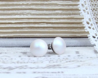 White Pearl Studs Iridescent Studs Pearl Stud Earrings White Pearl Earrings Surgical Steel Studs