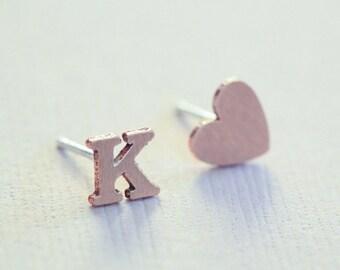 initial earrings, rose gold heart earrings, dainty earrings, personalized jewelry, minimalist earrings - pink gold filled
