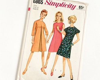 Shop SALE Vintage 1960s Womens Size 12 One Piece Mod A-Line Dress Simplicity #6865 Sewing Pattern Complete bust 32 waist 25""