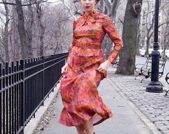 Vintage 60's Metallic Orange Striped Paisley Maxi Hostess Dress