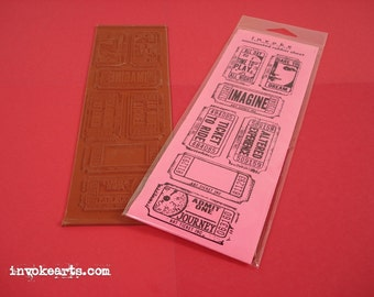 Art Tickets / Invoke Arts Collage Rubber Stamps / Unmounted Stamp Set
