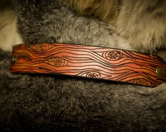 Leather Wood Bark Bracelet
