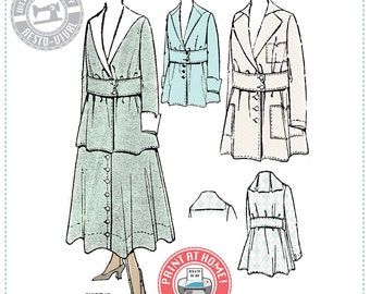 E-Pattern-  1910s JACKET- Circa 1916 - Wearing History PDF Vintage Historical Costume Sewing Pattern
