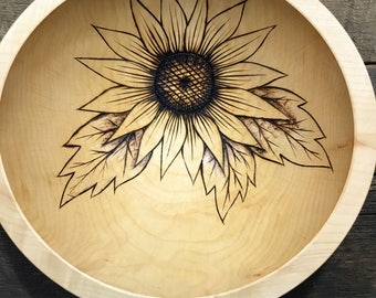 "10"" Sunflower Wdding Bowl, Anniversary Bowl, Gifts For Her, Gifts For Mom, Sunflowe Lovers, Pyrography, Wiid Burning"