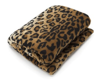 Leopard Extra Large Lumbar Microwave Heating Pad (24x10), Body Heat Wrap, Washable Fleece Cover