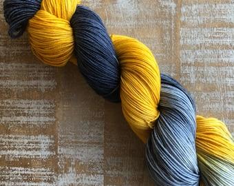 Hand Dyed Yarn, Sock Weight Superwash Merino Wool, Indie Dyed, Merino/Nylon blend, 4 ply navy blue, yellow