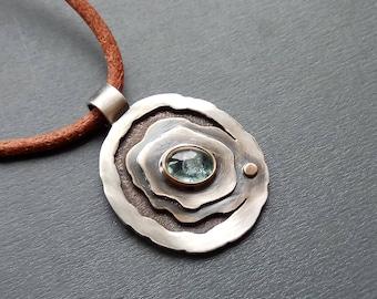 Blue oval pendant Tourmaline gemstone pendant Boho girlfriend gift Organic pendant Statement silver pendant OOAK unique pendant Sea pendant