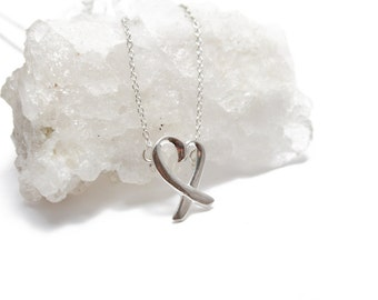 Sterling Silver 925 Heart Necklace Delicate Necklace