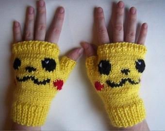 Pikachu Fingerless Gloves--Pikachu Arm Warmers